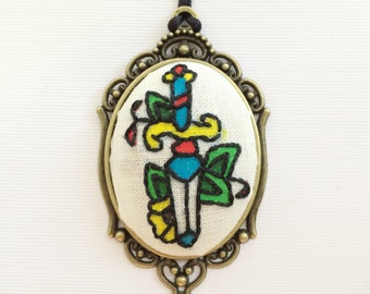 Sailor Jerry Necklace, Hand Embroidery, Hand painted , Vintage Pendant, Acrylic Paint