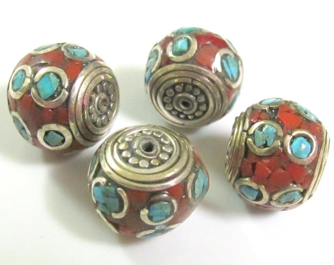 Beautiful Tibetan brass beads thick rondelle shape  with Oval turquoise circles - 4 beads - BD281