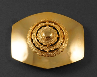 """Octagon GOLD Metal Belt Buckle, Vintage Fashion Jewelry by 1 pc, 3'' x 2-1/2"""", LT-5480"""