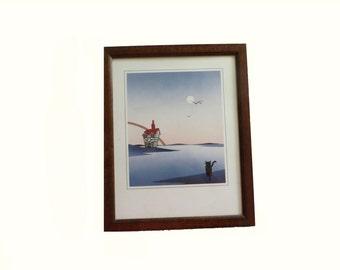 Litho Print of Black Cat and Rainbow Contemporary  Art Colorful Art Art Print Framed Art Cat Kitten Framed Art