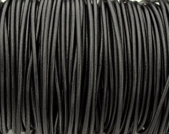 2MM Round Leather Cord - Black - 2Yards/6ft - Top Quality European Leather Cord