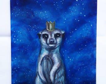 meerkat art ,meerkat painting , woodland animal painting , meerkat gift