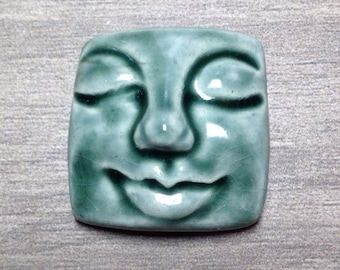 Large Square Face Ceramic Cabochon Stone in Peacock
