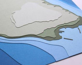 Mackinac Island w/ topography - original 8 x 10 papercut art