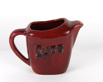 Rare French Bistro Pitcher, Suze Water Jug 50s Deep Claret Red