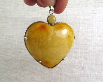 "Massive Heart Baltic Amber Pendant 2.68"" Yellow Egg Yolk Heart Charm Amber Necklace 34,7 gram 925 Sterling Silver Amber Jewelry"