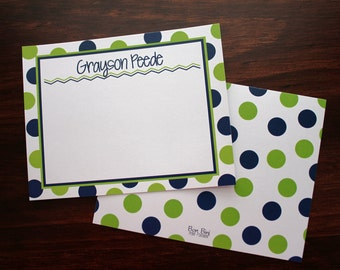 Personalized Kid's Stationery - Polka Dots - Set of 10 with envelopes