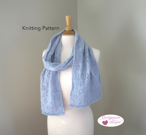 Lace Snowflake Scarf Knit Pattern Sport Weight Yarn Lacy Snowflake