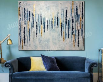 Large abstract canvas, Navy painting, Gold & silver leaf, Abstract Painting, with epoxy resin coating(optional)