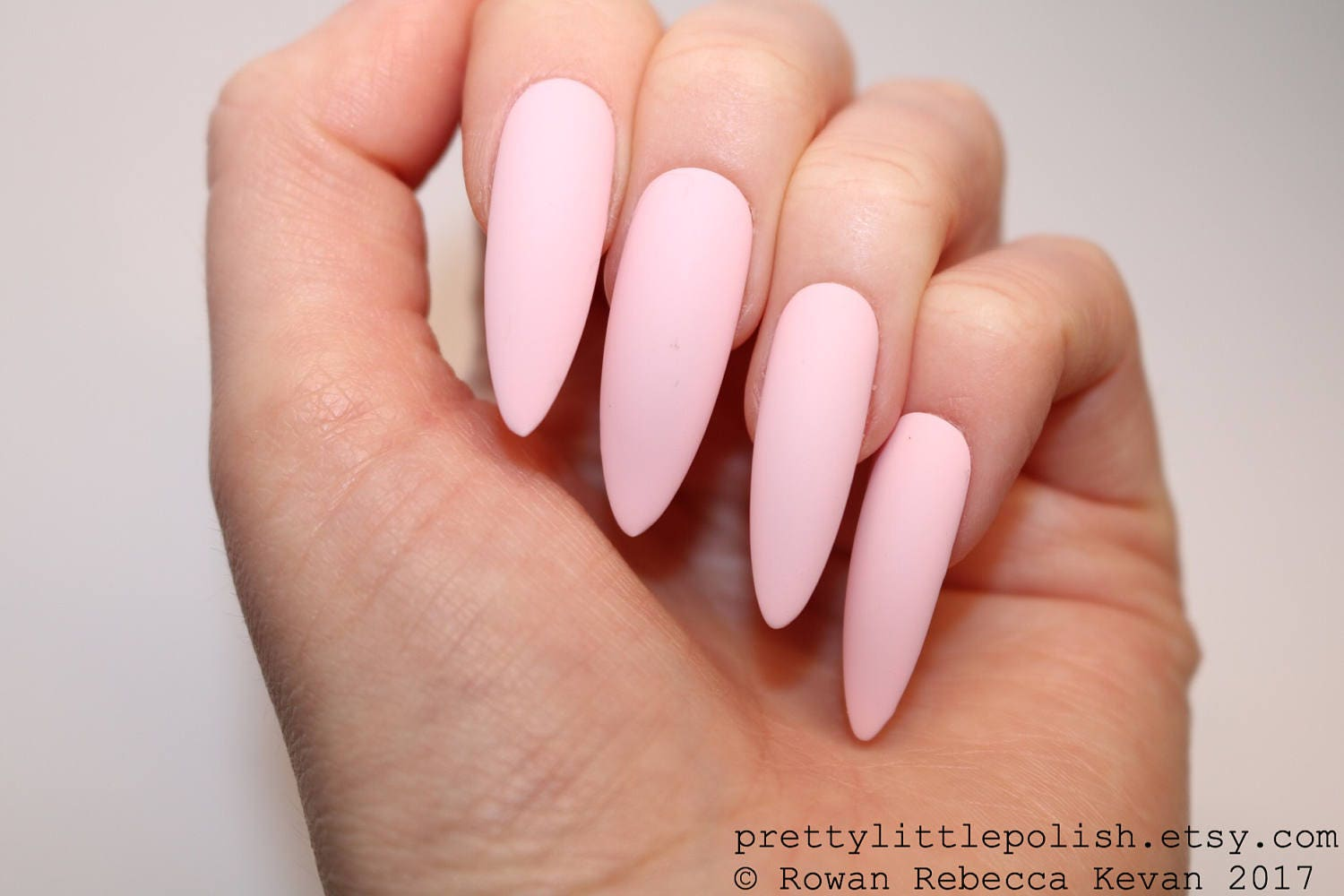 Pastel pink long stiletto nails 20 full set of nails