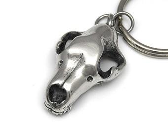 Bear Skull Keychain in Polished Pewter, Handmade Animal Keyring