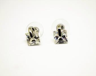 Vintage Silver Earrings with Diamond-like Stone