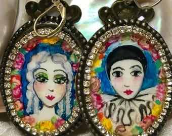 Lilygrace Handpainted Pierrot and Columbine Earrings with Vintage Rhinestones