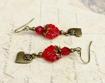 Red Earrings, Ruby Earrings, Leaf Earrings, Maple Leaf Earrings, Red Leaf Earrings, Heart Earrings, Czech Glass Beads, Gold Heart Earrings