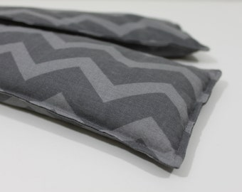 Neck & Shoulder Rice Bag - 4.5 x 21 inches, hot or cold therapy pack, gray chevron, rice heating pad