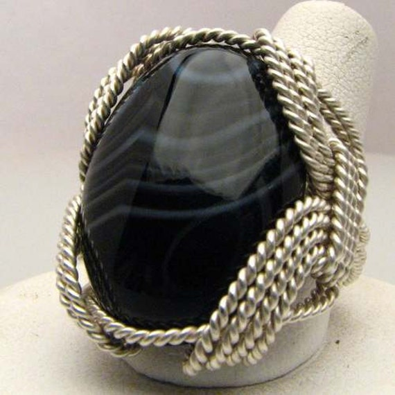 Handmade Sterling Silver Wire Wrap Black/White Striped Onyx Ring