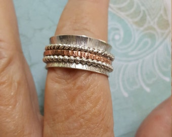 Spinner Ring in Sterling Silver with copper accents