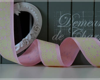 Pink grosgrain with lace Ribbon of clear 25 mm wide - 5 M