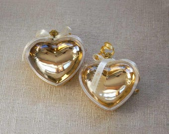 Plastic Heart Box, Set of Two, Party Favor, Wedding, Anniversary, Gold, Clear Plastic, Heart Candy Box, Vintage 1990s Supply, Trinket Box