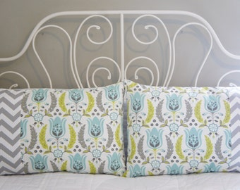 Queen Bed Pillow Shams, 20x30, grey, ice blue, citron