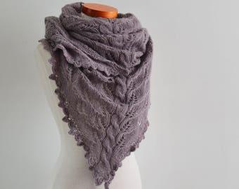 Lace knitted shawl, mauve, Q543