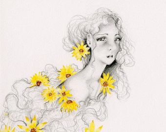 Drawing of a Girl with Flower Painting Print Sunflowers Decor Sunflower Wall Art Gift for Her Flower Watercolor Painting Art Print