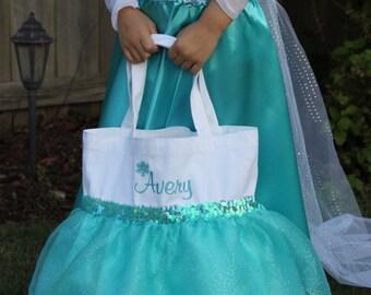 ELSA Inspired Princess Bag/ Tote- Easter Bag- Halloween Trick or Treat Bag- Dance Bag- FROZEN Party Favor