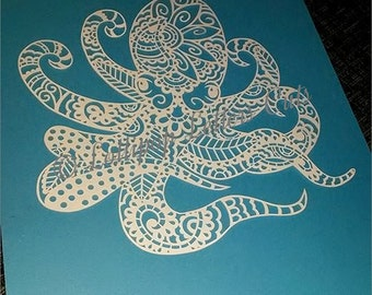 Paisley Octopus, DIY, Paper Cut Template, Commercial Use
