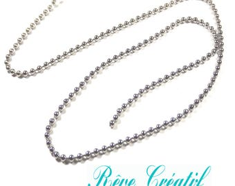 1 meter 201 Stainless Steel Ball Chains, Stainless Steel Color, 2.0mm