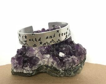 Aluminium quote bangle - Personalised Inspirational cuff bracelet - Wild andFree