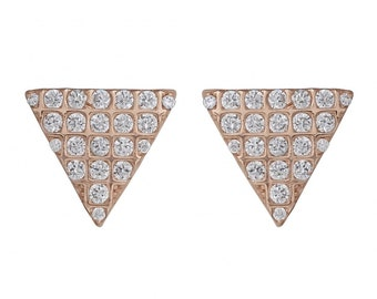 rose gold sterling silver 925 earrings, triangle design, fashionistas