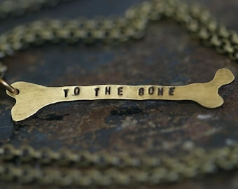 Brass Femur Bone Necklace for Halloween Personalized (E0311)