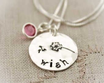 Make a WISH Necklace with Birthstone and Dandelion Sterling Silver  Personalized Hand Stamped Jewelry