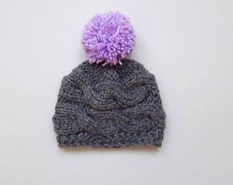 Baby Pom Pom Hat_Knit Baby Hat _Newborn Baby Hat Photo Props_Knit Baby Hat_Pom Pom Baby Hat_Knit Baby Beanie_Toddler Pom Pom Hat