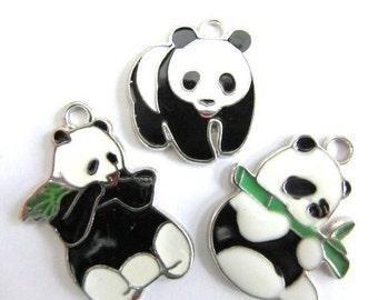 Set of 3 PLAYFUL PANDA BEARS Charm Pendants