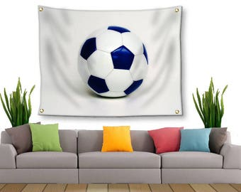 Soccer Tapestry-Soccer Wall Decor-Canvas Tapestry-Sports Wall Decor-Wall Hanging-Blue & White Wall Decor-Dorm Wall Decor-Outdoor Tapestry