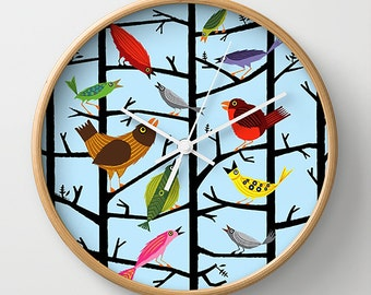 For All The Birds - light blue illustrated wall clock - by Oliver Lake