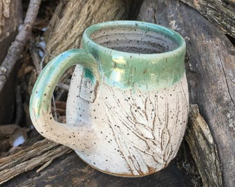 Big Pottery Mug Speckled Wheat Design Handmade by Daisy Friesen