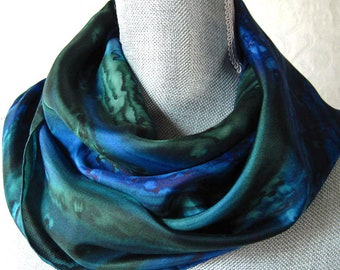 Mother's Day Gift Silk Scarf Hand Dyed in Forest Green and Midnight Blue