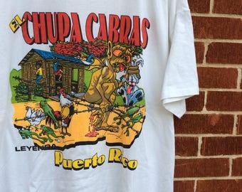 Vintage EL CHUPACABRA shirt XL single stitch cryptid Puerto Rico