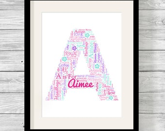 Alphabet Personalised Word Art Bespoke Typography Print Mum, Family, Birthday, Nanna, Sister, Friend ANY LETTER