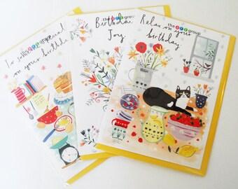 Set of Three Illustrated Birthday Cards
