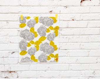 Hortensia in Citron : Hand-printed Fabric Panel