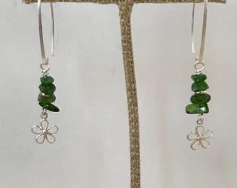 St. Patrick's Day Wear, Chrome Diopside Earrings, Sterling Silver Flower, Boho Earrings, Flower Earrings, Girlfriend Gift, Dainty Earrings