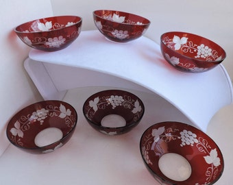 Antique Ruby Cut to Clear Glass Berry Bowls | Set of 6 Red Glass Etched Grape and Vine Dessert Dishes | Fine Dining | GreenTreeBoutique
