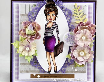Young woman going to work card