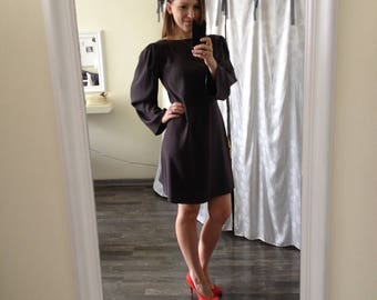 Gray Silk Middle Dress/Gray Silk Dress/Gray Medium Silk Dress/Long-Sleeve Middle Dress/