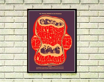Reprint of a 70's Jefferson Airplane Music Concert Poster