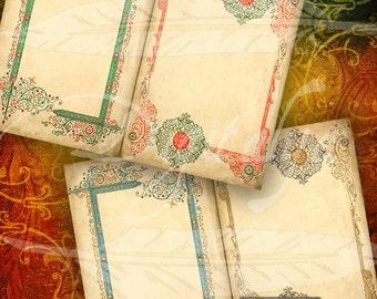 ARABESQUE de Noël sur teint papier Set #1 - dix 5 x 7 cartes - 5 feuilles de Collage numérique - Buy 3 Get 1 Extra Free - encadré instantanée téléchargement