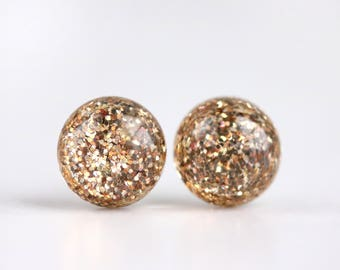 gold glitter globe post earrings with sterling silver posts
